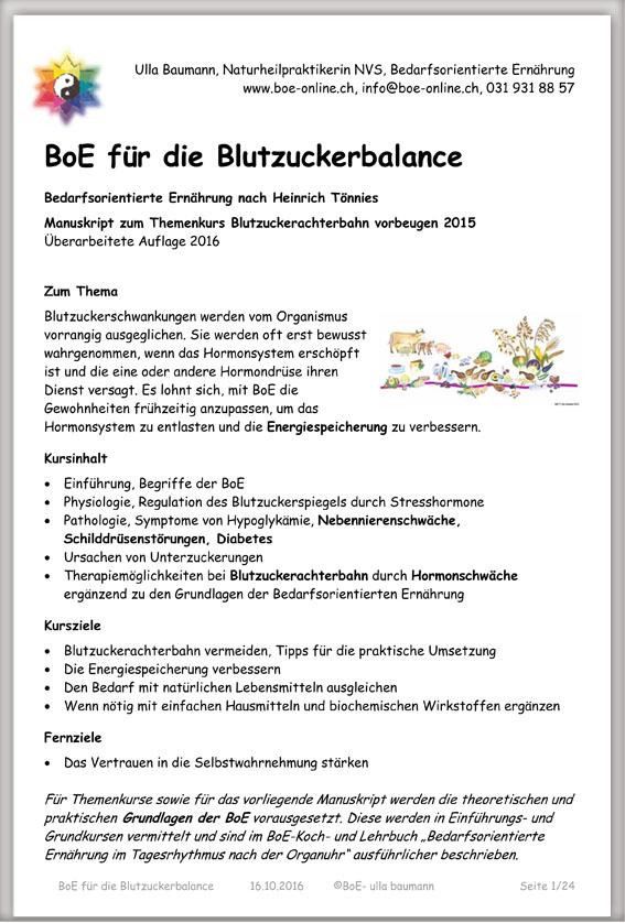 Manuskript BoE für die Blutzuckerbalance