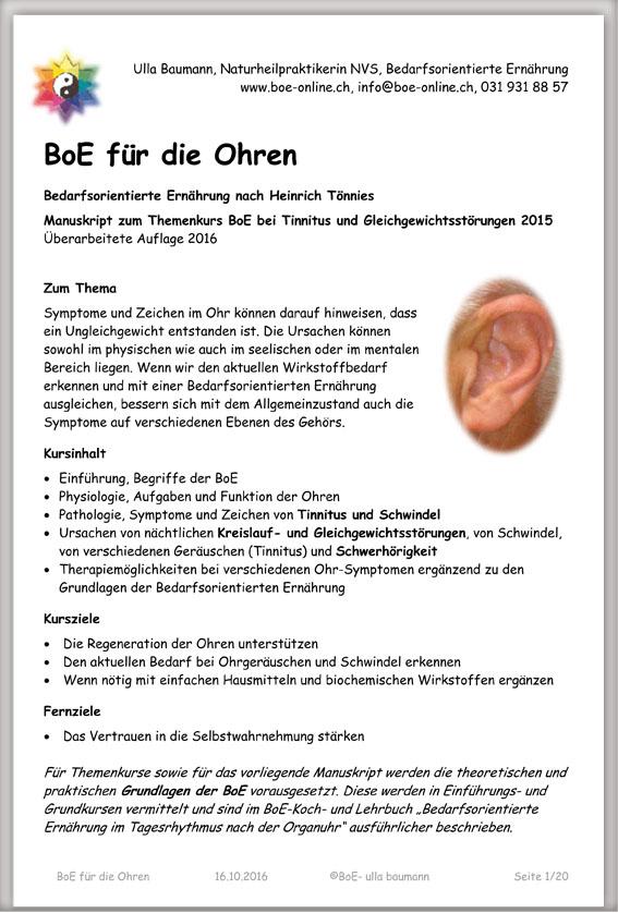 Manuskript BoE für die Ohren